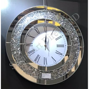 Crushed Diamond Round Clock