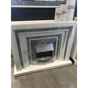 White Crushed Diamond Fireplace