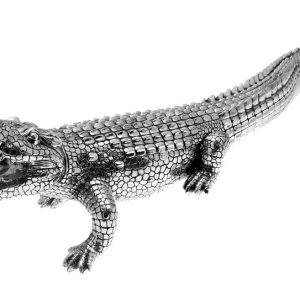 Vintage - Ornamental Large Silver Alligator / Crocodile