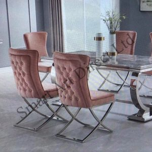 Plush Pink Cross Legged Dining Chair