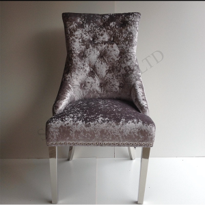 Silver Crushed Velvet Knocker Back Dining Chair