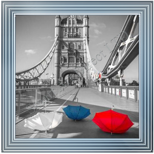 White, Blue & Red Umbrellas Tower Bridge III