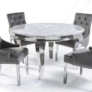 Buckingham 1.3m Round Grey Marble Dining Table