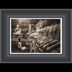 Young Buddhist Monk Praying Thailand Sepia