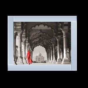 Woman in Traditional Sari Walking towards Taj Mahal