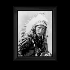 Indian Wearing White War Bonnet - 1900